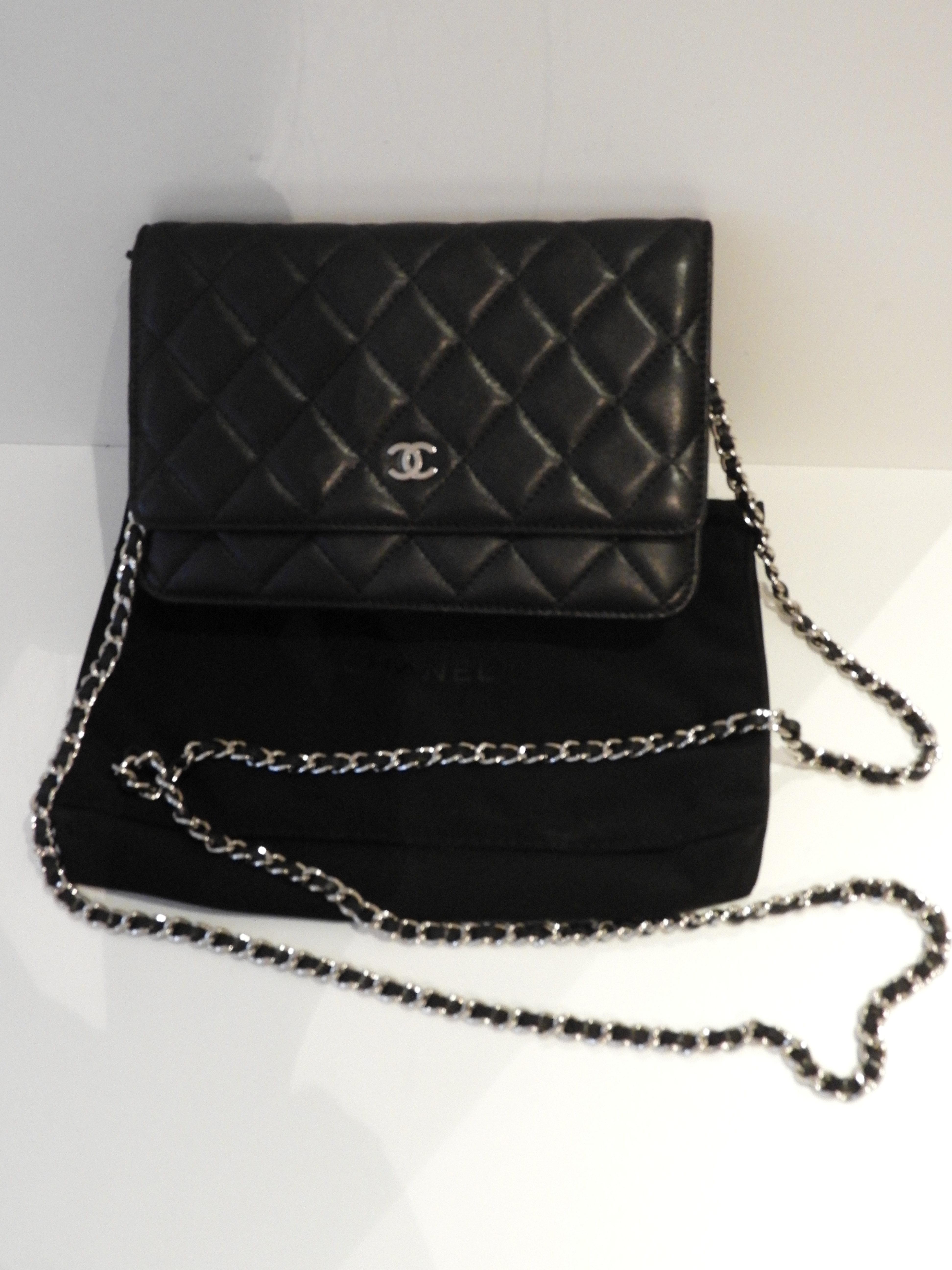 Chanel Woc Tasche Clutch Leder Schwarz Silber Modeundlifestyle Ch